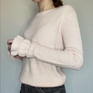 Club Monaco Light Pink Knit Ruffle Sleeve Sweater